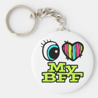 Amor brillante del corazón I del ojo mi BFF Llavero Redondo Tipo Pin