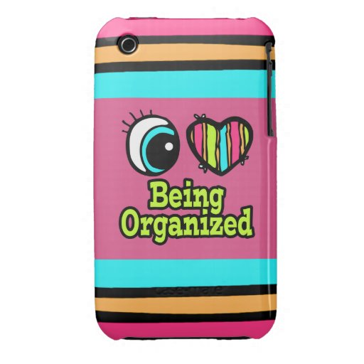 Amor brillante del corazón I del ojo que es organi iPhone 3 Case-Mate Cárcasa
