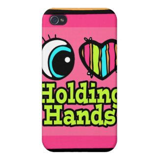 Amor brillante del corazón I del ojo que lleva a c iPhone 4 Protectores