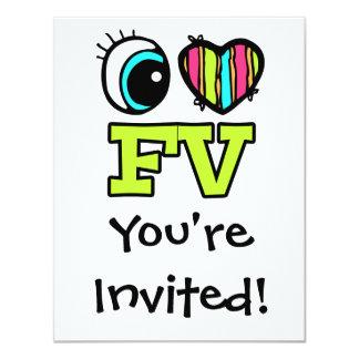 """Amor brillante FV del corazón I del ojo Invitación 4.25"""" X 5.5"""""""
