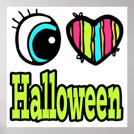 Amor brillante Halloween del corazón I del ojo Impresiones