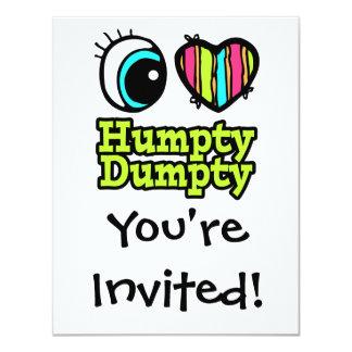 """Amor brillante Humpty Dumpty del corazón I del ojo Invitación 4.25"""" X 5.5"""""""