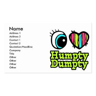 Amor brillante Humpty Dumpty del corazón I del ojo Tarjetas De Visita