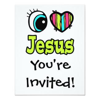 """Amor brillante Jesús del corazón I del ojo Invitación 4.25"""" X 5.5"""""""