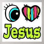 Amor brillante Jesús del corazón I del ojo Posters