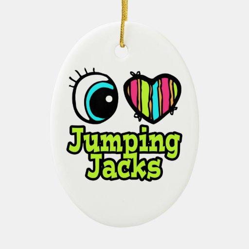 Amor brillante Jumping Jacks del corazón I del ojo Adornos De Navidad