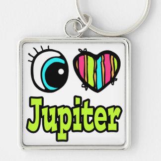 Amor brillante Júpiter del corazón I del ojo Llavero Cuadrado Plateado
