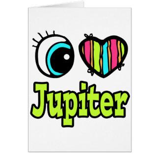 Amor brillante Júpiter del corazón I del ojo Tarjeta De Felicitación