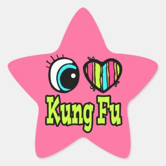 Amor brillante Kung Fu del corazón I del ojo Calcomanía Forma De Estrella Personalizadas