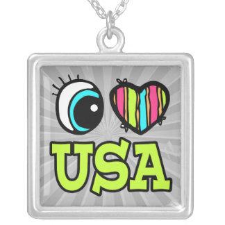 Amor brillante los E.E.U.U. del corazón I del ojo Collar Personalizado