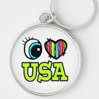 Amor brillante los E.E.U.U. del corazón I del ojo Llavero Personalizado
