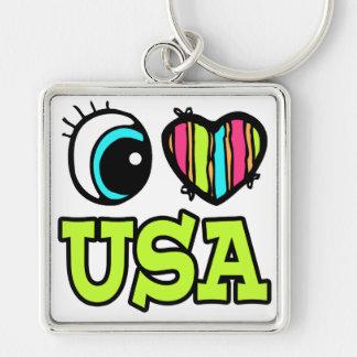 Amor brillante los E.E.U.U. del corazón I del ojo Llavero