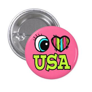 Amor brillante los E.E.U.U. del corazón I del ojo Pins