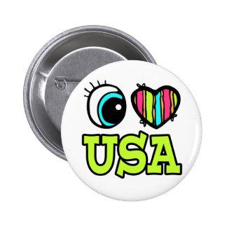 Amor brillante los E.E.U.U. del corazón I del ojo Pin