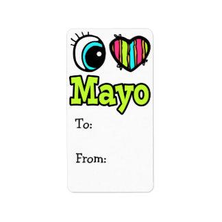 Amor brillante Mayo del corazón I del ojo Etiquetas De Dirección