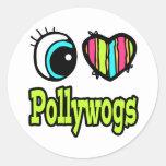 Amor brillante Pollywogs del corazón I del ojo Pegatinas Redondas