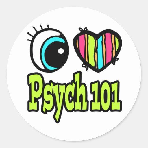 Amor brillante Psych 101 del corazón I del ojo Pegatina Redonda