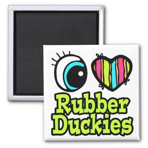 Amor brillante Ruber Duckies del corazón I del ojo Imán Cuadrado