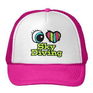 Amor brillante Skydiving del corazón I del ojo Gorra