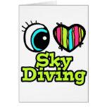 Amor brillante Skydiving del corazón I del ojo Tarjetas