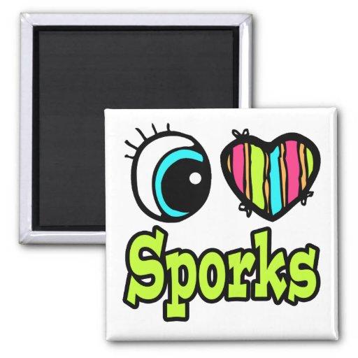 Amor brillante Sporks del corazón I del ojo Iman De Frigorífico