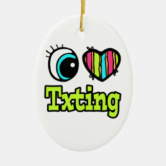 Amor brillante Txting del corazón I del ojo Adorno Ovalado De Cerámica