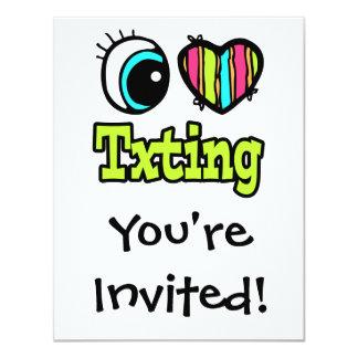 """Amor brillante Txting del corazón I del ojo Invitación 4.25"""" X 5.5"""""""