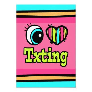 """Amor brillante Txting del corazón I del ojo Invitación 5"""" X 7"""""""