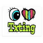 Amor brillante Txting del corazón I del ojo Tarjeta Postal