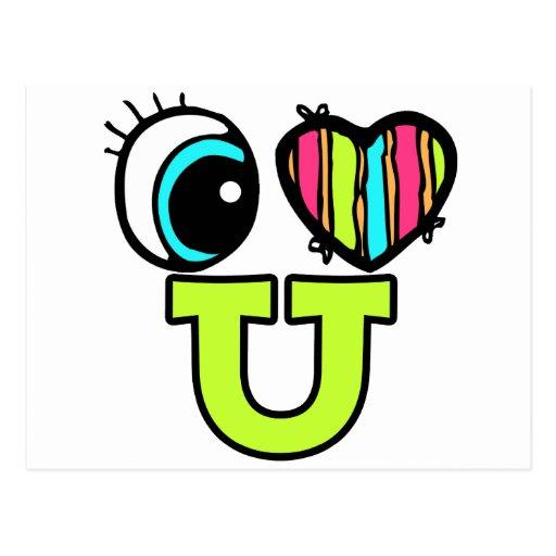 Amor brillante U del corazón I del ojo usted Tarjeta Postal