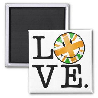 Amor británico irlandés de la bandera imán cuadrado