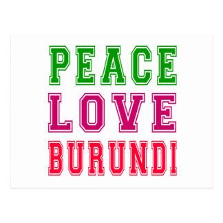 Amor Burundi de la paz Tarjeta Postal