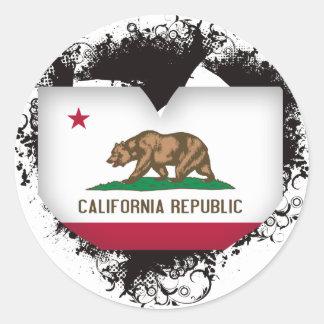 Amor California del vintage I Pegatina Redonda