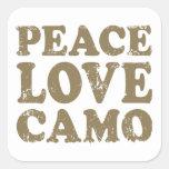 Amor Camo de la paz Calcomania Cuadradas