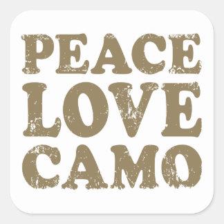 Amor Camo de la paz Pegatina Cuadrada