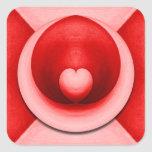 Amor candente del corazón calcomanía cuadrada personalizada
