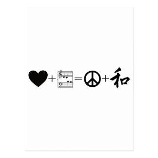 Amor CARDIACO+Music=Peace+Armonía Tarjetas Postales