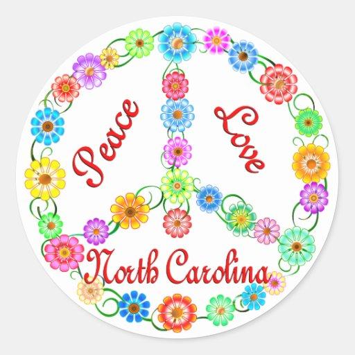 Amor Carolina del Norte de la paz Etiquetas Redondas
