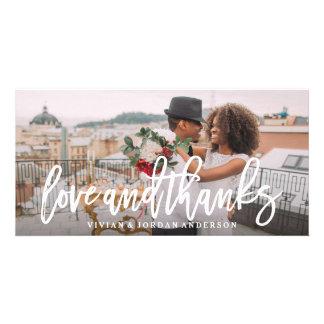 Amor cepillado y gracias que casan la tarjeta de tarjetas fotograficas