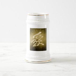Amor chino en piedra jarra de cerveza