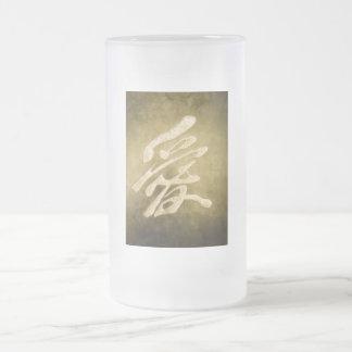 Amor chino en piedra taza de cristal