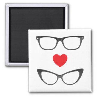 Amor chistoso del friki - corazón y lentes imán cuadrado