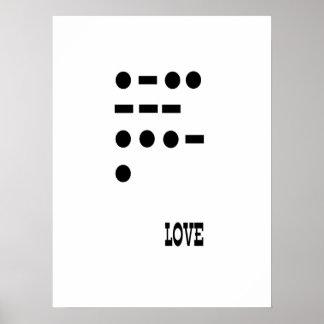 Amor -- código Morse Póster