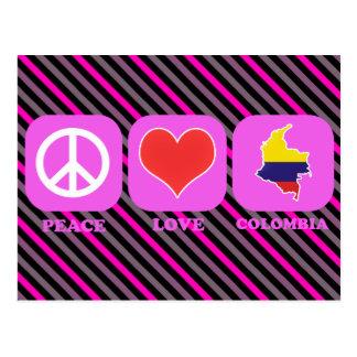Amor Colombia de la paz Tarjeta Postal