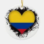 Amor Colombia del vintage I Adorno Redondo De Cerámica