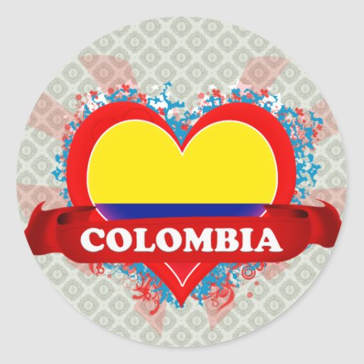 Amor Colombia del vintage I Pegatina Redonda