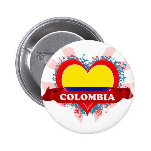 Amor Colombia del vintage I Pin Redondo De 2 Pulgadas