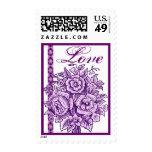 Amor color de rosa púrpura del cordón del ramo del sello