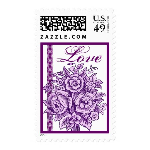 Amor color de rosa púrpura del cordón del ramo del timbres postales