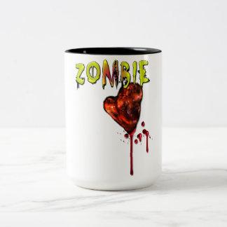 Amor cómico del zombi taza de dos tonos